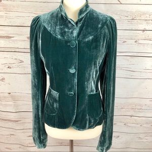 French Connection Teal Velvet Puff Sleeve Blazer